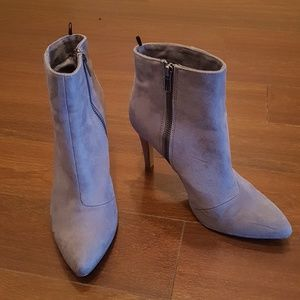 Faux suede ankle booties with zippers